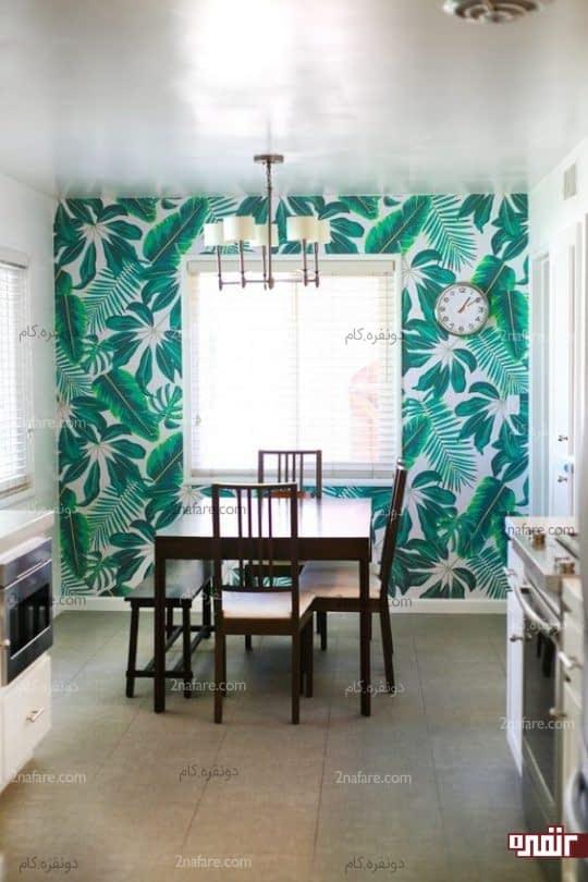 طراحی یک دکوراسیون آشپزخانه با کاغذ دیواری طرح برگ درختان استوایی