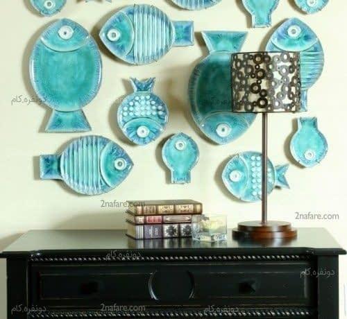 ماهی های فیروزه ای برای تزیین دیوار