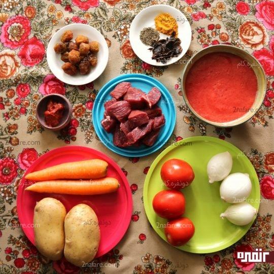 مواد لازم برای تهیه تاس کباب