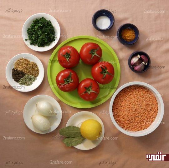 مواد لازم برای تهیه خوراک دال عدس