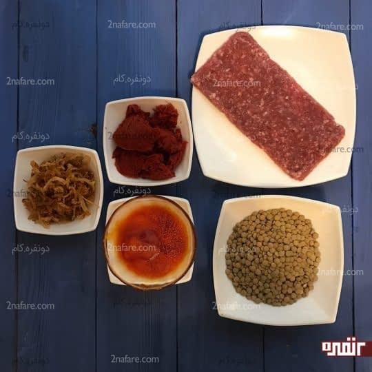 مواد لازم برای تهیه عدس پلو لایه ای با رب گوجه