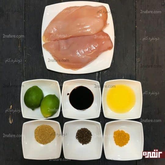 مواد لازم برای تهیه کباب چیکن ساتای