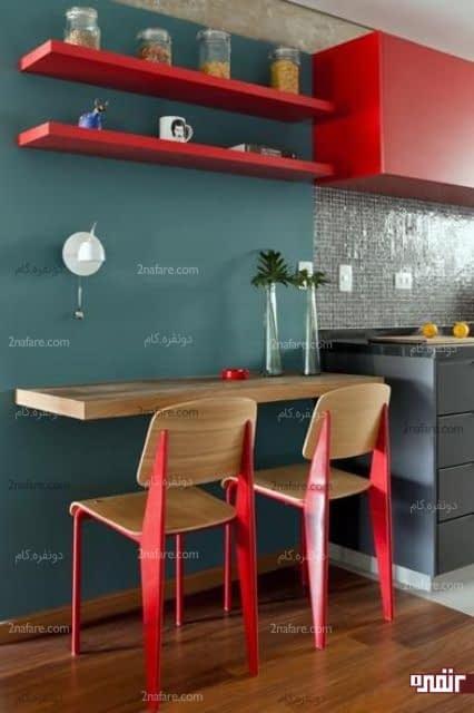 میز صبحانه خوری دونفره دیواری با دیزاین جذاب