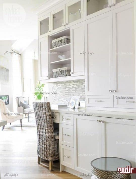هماهنگی بین میز کار و دکوراسیون آشپزخانه