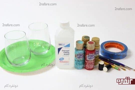 وسایل مورد نیاز برای رنگ کردن ظروف شیشه ای ساده