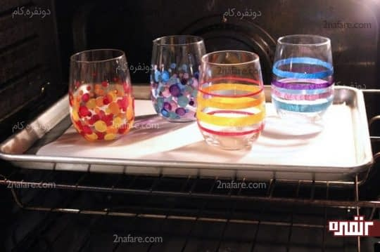 پختن لیوان های شیشه ای رنگ شده
