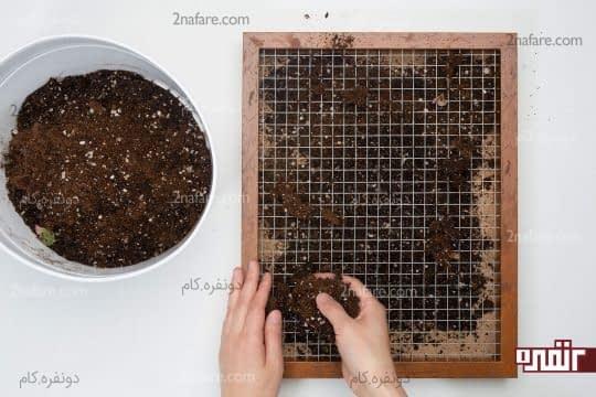 پر کردن قاب ساکولنت با خاک مخصوص کاکتوس