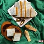 طرز تهیه حلوا با نان میکادو (برش مربعی)