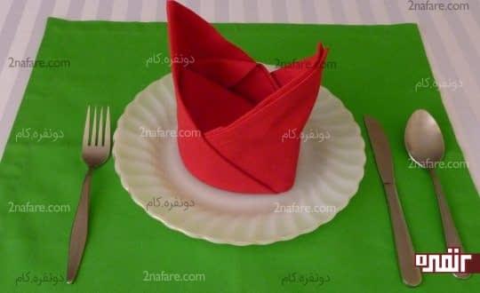 تزیین دستمال سفره به صورت کلاه