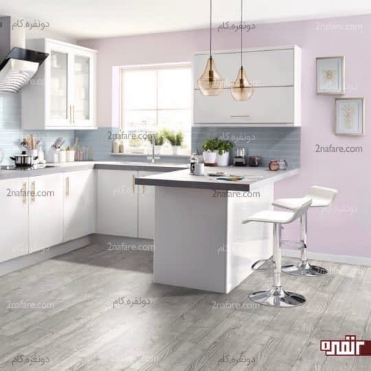 آشپزخانه مدرن با رنگ های خنثی