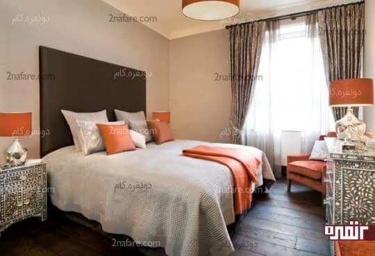 اتاق خوابی آرام و زیبا با اکسسوری های نارنجی رنگ