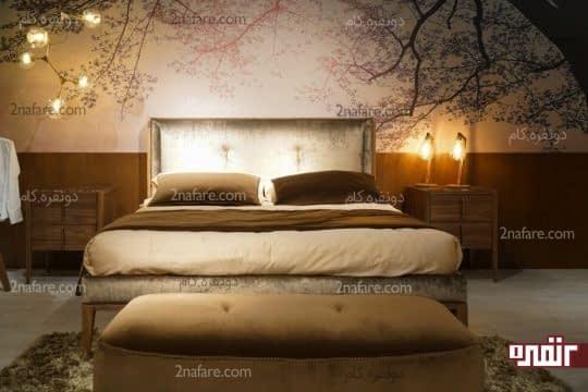 اتاق خواب آرامبخش با تزیین دیوار پشت تخت