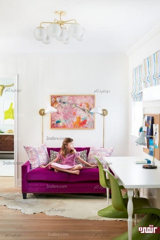 اتاق شاد و دخترونه با مبل ارغوانی