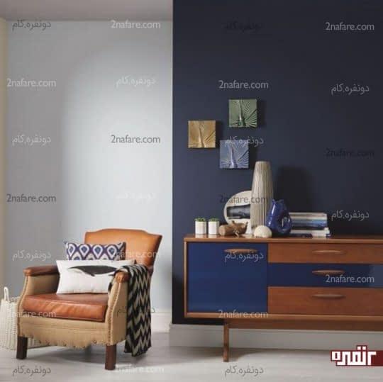 اتاق نشیمن با ترکیب رنگ های تیره