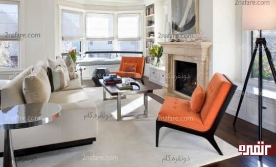 اتاق نشیمن با ترکیب رنگ های خنثی و نارنجی