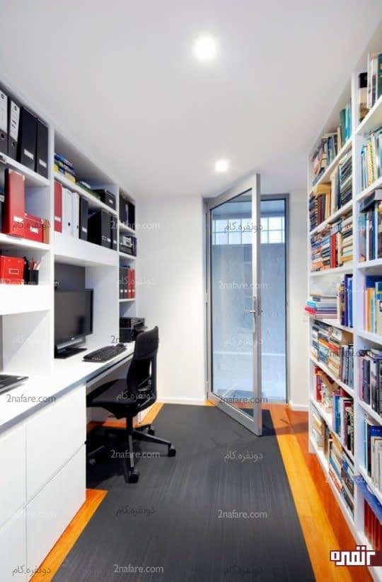 اتاق کار مرتب با قفسه های دیواری