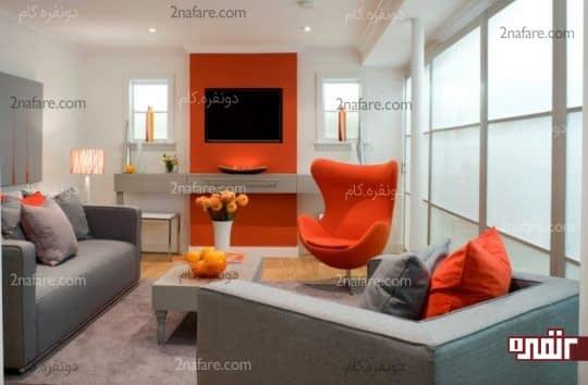 استفاده از رنگ نارنجی در دیوار پشت تلویزیون