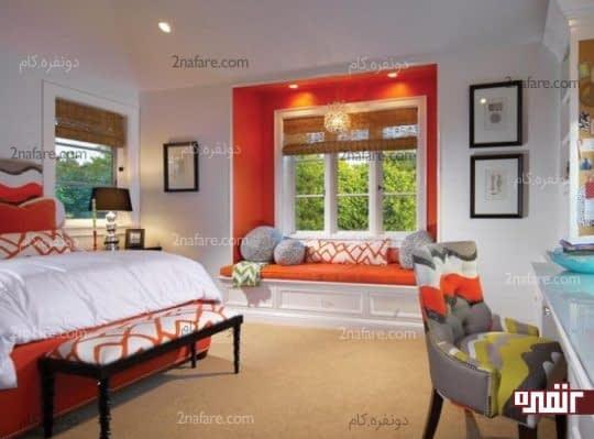 استفاده از رنگ نارنجی در قسمت های مختلف اتاق خواب
