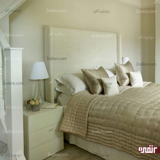 استفاده از سایه های مختلف رنگ کرم در دکوراسیون اتاق خواب کوچک