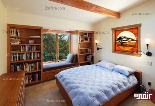 استفاده از فضای اطراف پنجره به عنوان کتابخانه