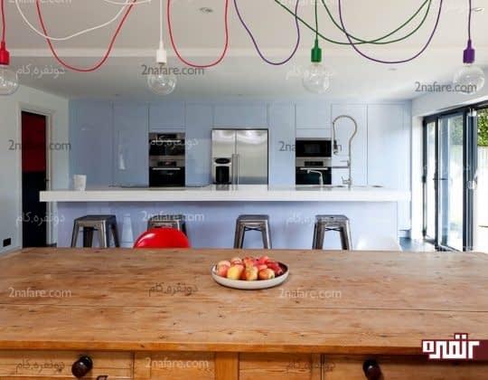 استفاده از لامپ با سیمهای رنگی برای دکور آشپزخانه
