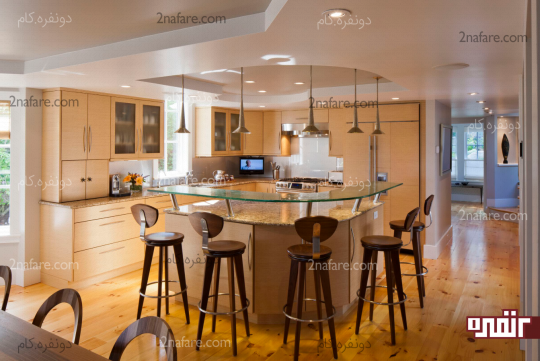 استفاده از کابینت با رنگ چوب در دکوراسیون آشپزخانه
