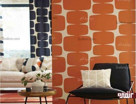 استفاده از کاغذ دیواری نارنجی در دکوراسیون داخلی