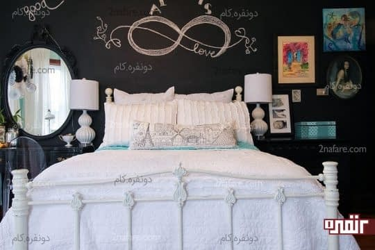 انتخاب تخته سیاه به عنوان دیوار پشت تخت خواب