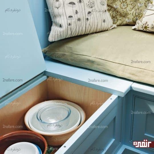 ایجاد فضای اضافی زیر صندلی ها برای نگهداری از لوازم آشپزخانه