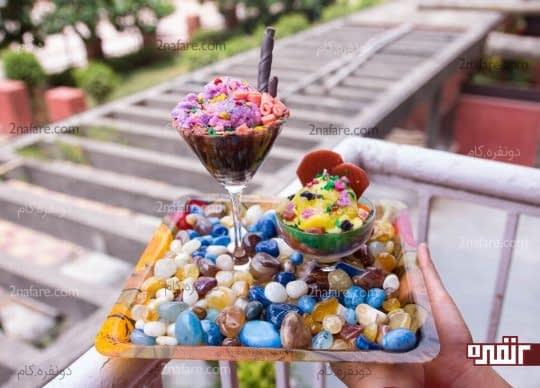 بستنی شمعی زعفرونی و شکلاتی