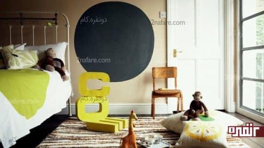 تخته سیاه دایره ای و کوچک در اتاق کودک