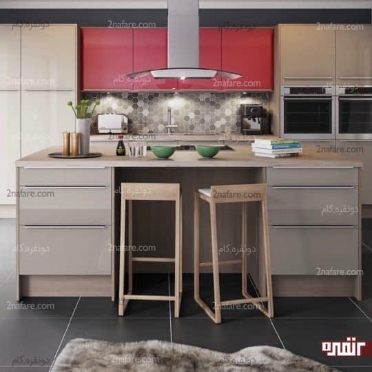 ترکیب دو رنگ در طراحی دکوراسیون آشپزخانه