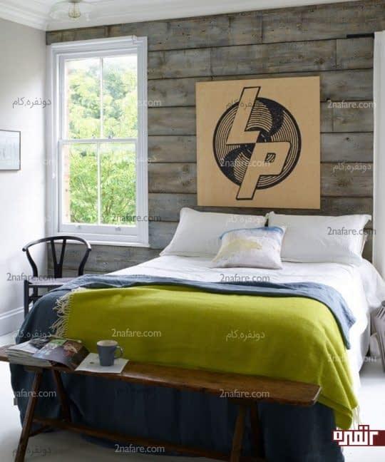 تزیین دیوار پشت تخت خواب با چوب