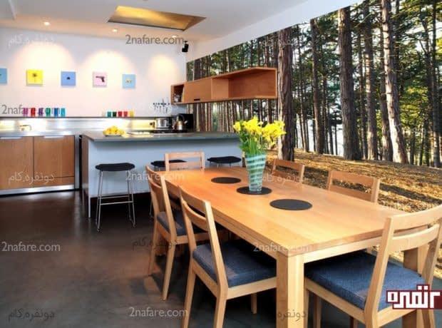 تزیین زیبا و خلاقانه ی فضای غذاخوری