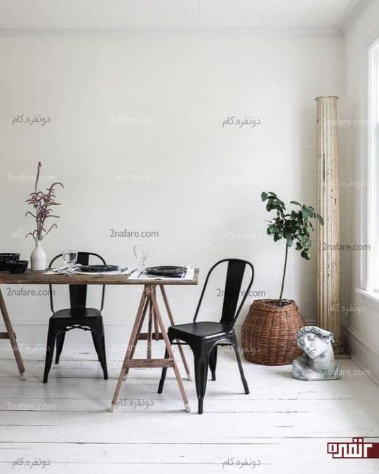 تزیین فضای خالی اتاق غذاخوری با درخت های تزیینی