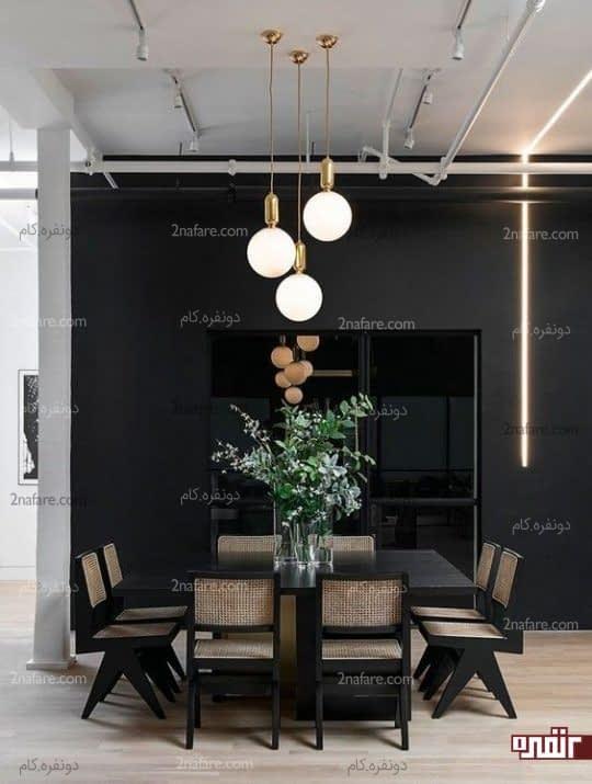 تزیین مدرن دیوار اتاق غذاخوری با نوار نئونی