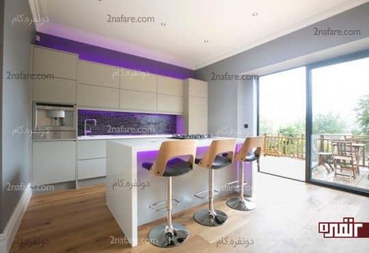 تمرکز و جذابیت روی نقاط خاص آشپزخانه با انتخاب نور رنگی