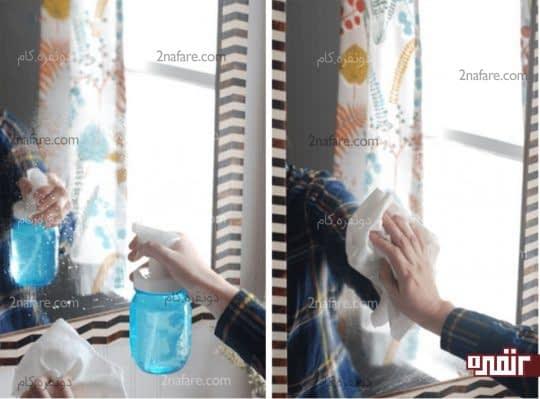 تمیز کردن شیشه با تمیز کننده خانگی