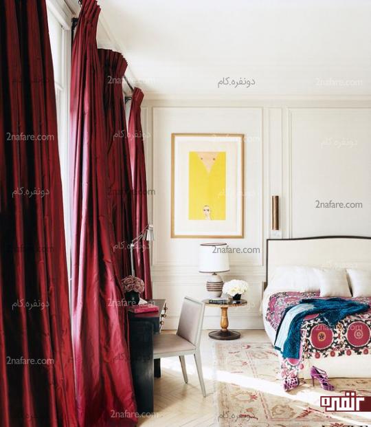 جذابیت اتاق خواب با پرده های بورگاندی