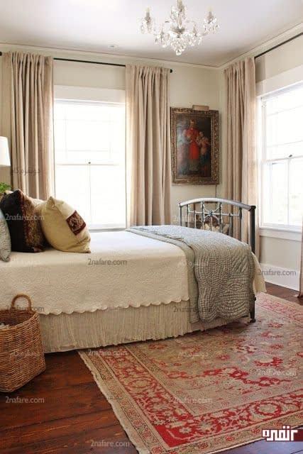 جذابیت دکور اتاق خواب با فرش رنگی