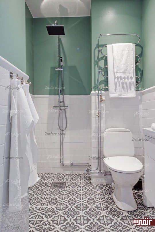 حمام مدرن و آرامبخش با ترکیب رنگ سبز نعنایی و سفید