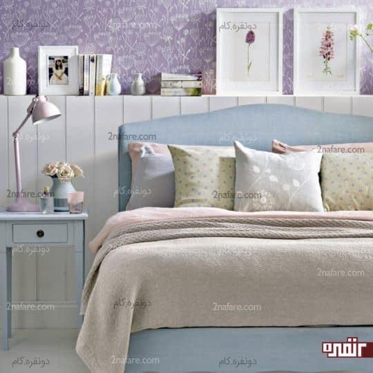 دیوار رنگ آمیزی و طراحی شده در اتاق خوابی زیبا