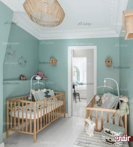 رنگ آمیزی دیوار اتاق کودک با سبز نعنایی
