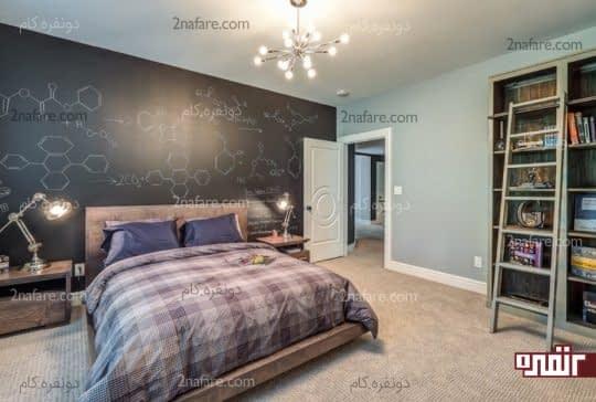 رنگ آمیزی دیوار پشت تخت به صورت تخته سیاه