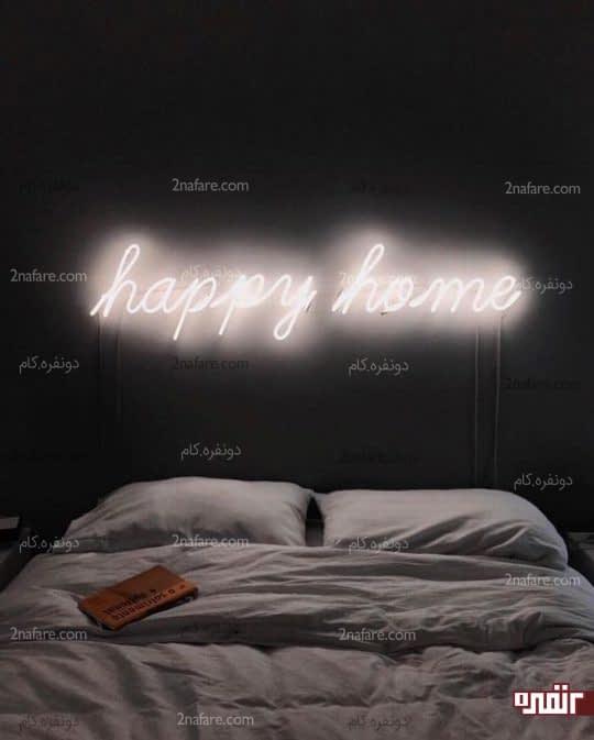 روشنایی ملایم اتاق خواب با نورپردازی نئون در شب