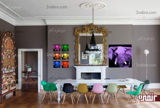 صندلی های رنگارنگ در فضای غذاخوری