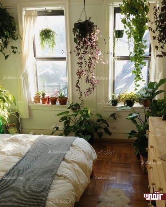 طراحی دکور اتاق خواب با گل و گیاه