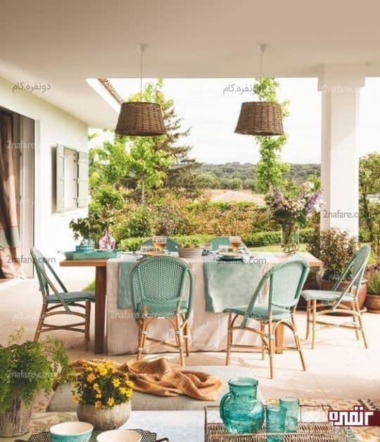طراحی دکور سنتی و زیبا برای فضای غذاخوری تراس