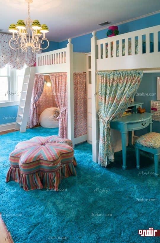 طراحی میز تحریر و فضای بازی در زیر تخت