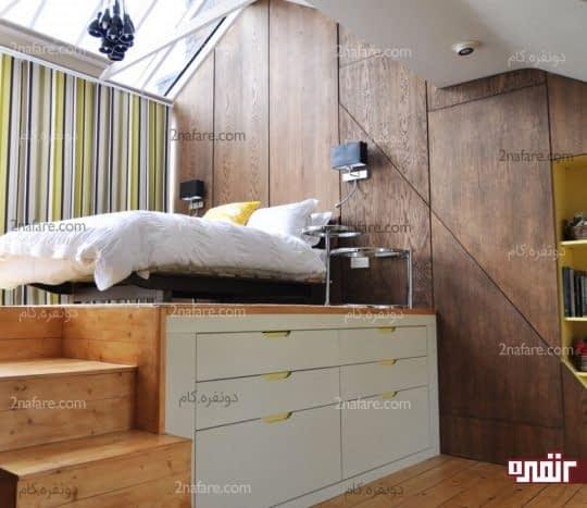 طراحی کشوهای جادار زیر تخت
